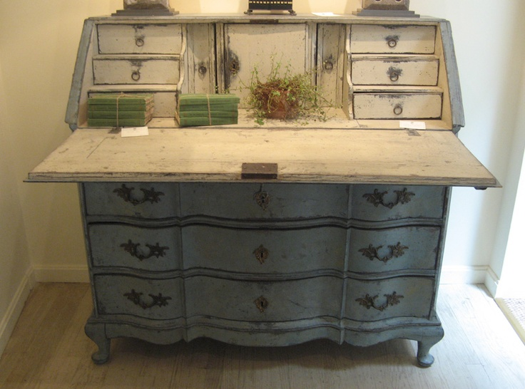 Marston Luce Antiques 18th Century Painted Swedish Slant Front Desk