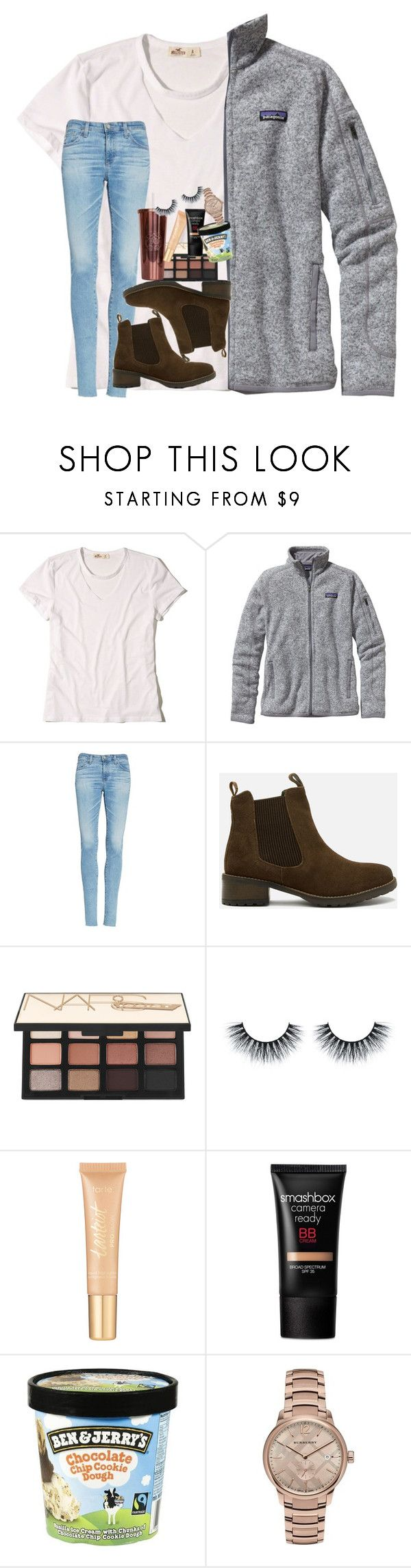 """got this patagonia:)"" by rxindrops-on-roses ❤ liked on Polyvore featuring Hollister Co., Patagonia, AG Adriano Goldschmied, Barbour, NARS Cosmetics, tarte, Smashbox and Burberry"