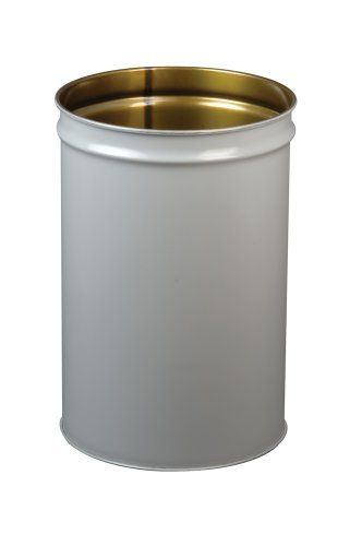 "Justrite 26054 Cease-Fire Steel Drum, 55 Gallon Capacity, 23-3/4"" OD x 34-1/2"" Height, Gray"