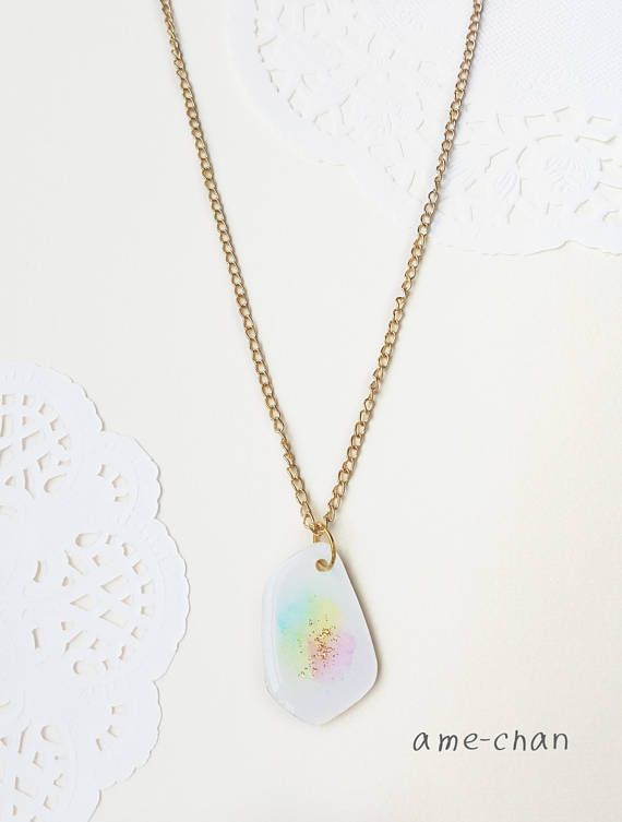 White  Pastel  Charm  canvas Rainbow  Colorful  necklace