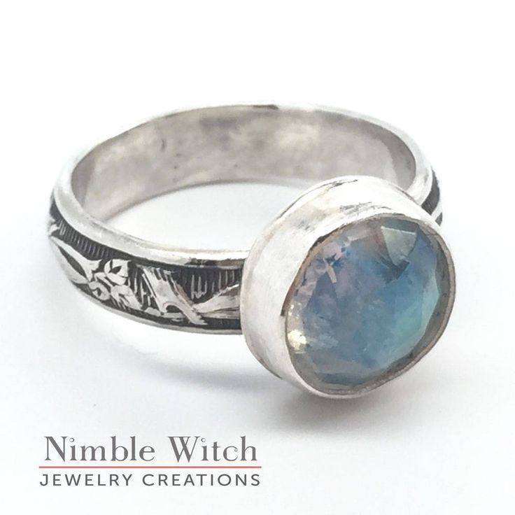 Blue moonstone ring, rainbow moonstone ring, vintage style boho ring, stacking ring, sterling silver ring, gift for her, girlfriend gift. by NimbleWitchCreative on Etsy