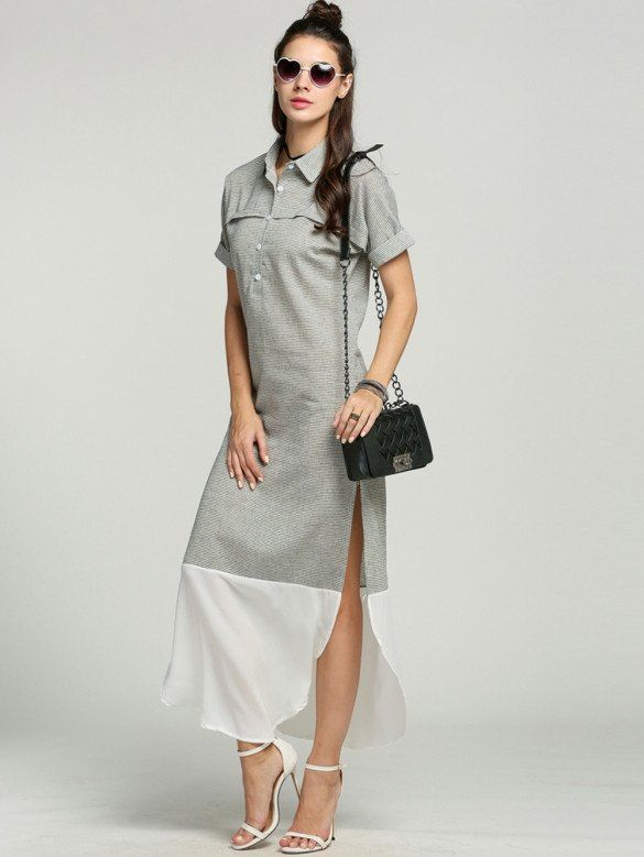 Side Slit Maxi Women Chic Long Striped Shirt Dress