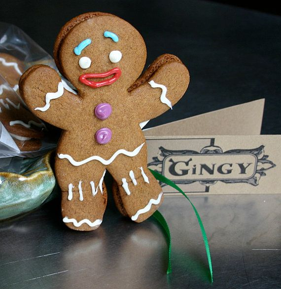 Gingy Cookies Shrek Style Gingerbread Man with by Scrumpalicious, $54.00