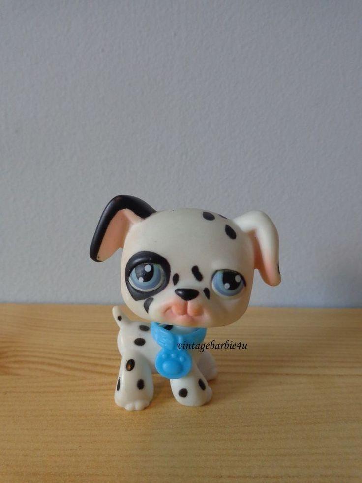 Littlest Pet Shop LPS Dalmation Puppy Dog #44 Blue Eyes Blue Collar #Hasbro