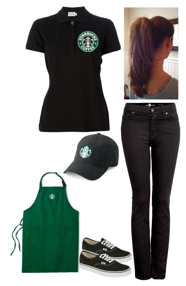 """Starbucks uniform"" by botdf54321 ❤ liked on Polyvore featuring Moncler, Vans and 7 For All Mankind"