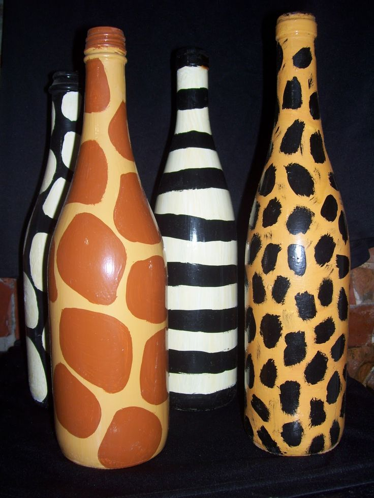 Botellas decoradas ..Animal Prints