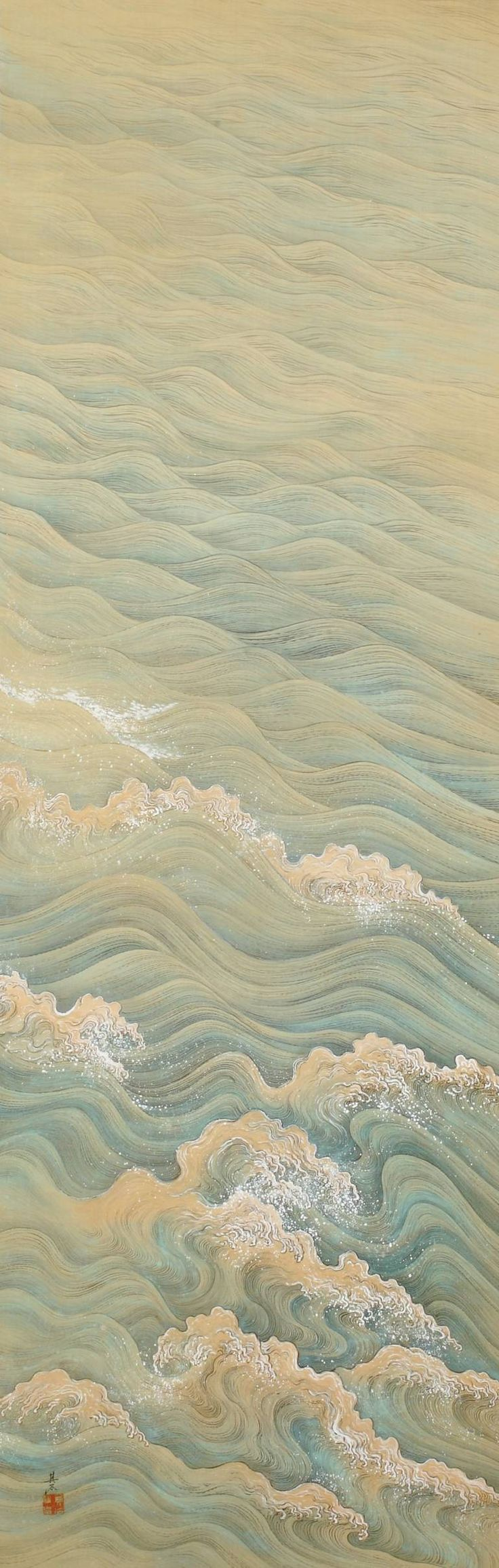 Painting of Waves ~ by Takata Kiseki ~ Mineral pigments on Silk