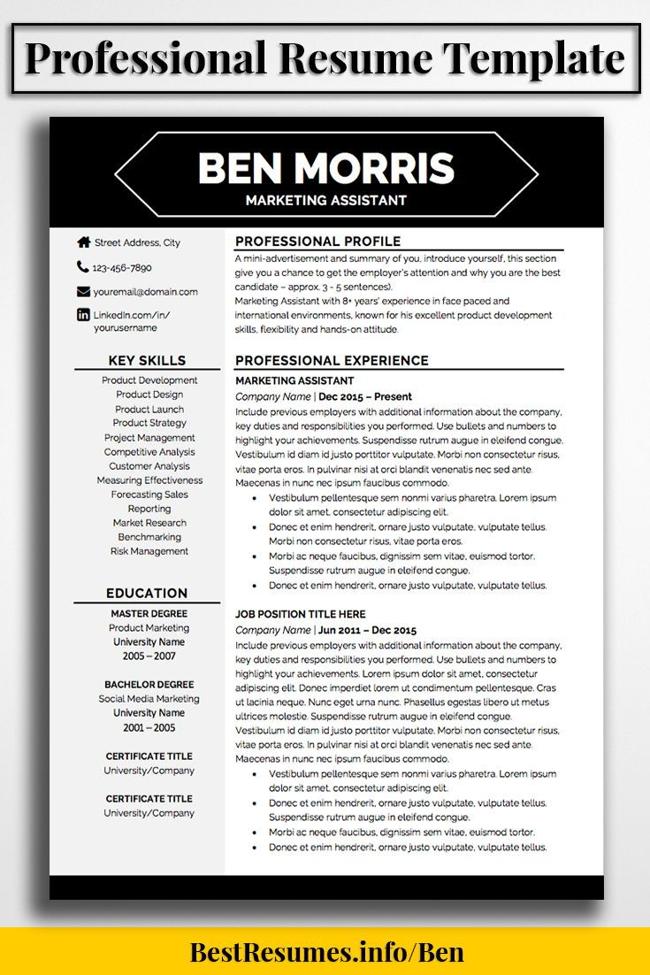 What Is A Good Resume Title Resume Template Ben Morris  Management  Pinterest  Job Resume .