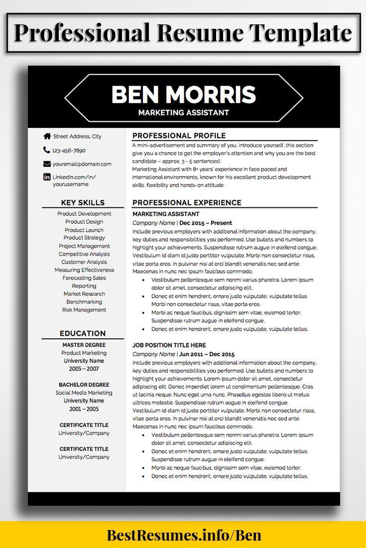 Competitive Analyst Sample Resume Resume Template Ben Morris  Management  Pinterest  Job Resume .