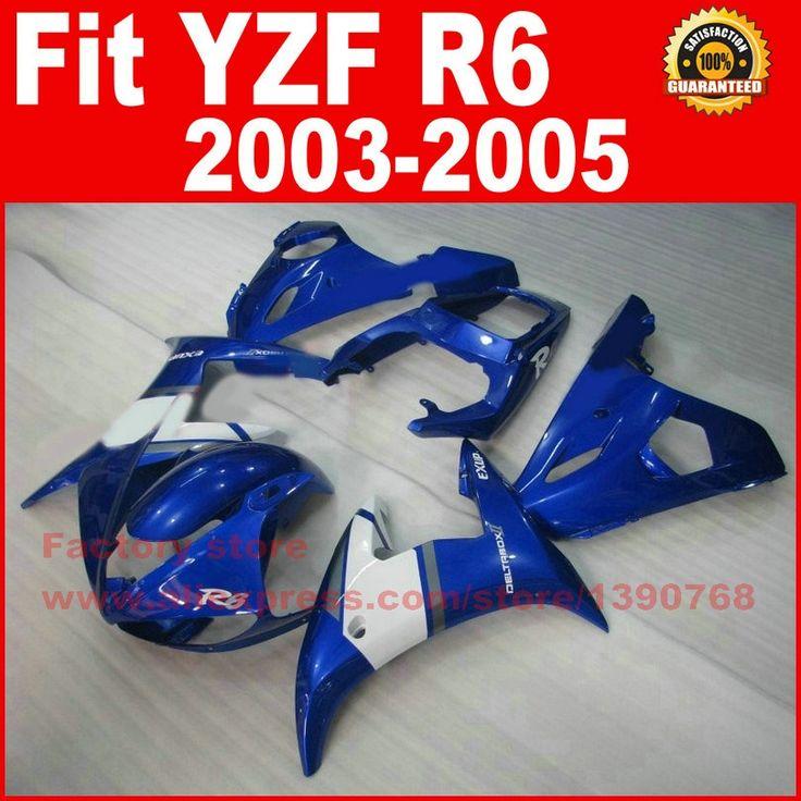 304.00$  Watch here - http://alimv8.worldwells.pw/go.php?t=32292115093 - Custom Motorcycle body fairings kit for YAMAHA R6 2003 2004 2005 YZF R6 03 04 05 YZFR 600 blue white fairing bodywork part 304.00$