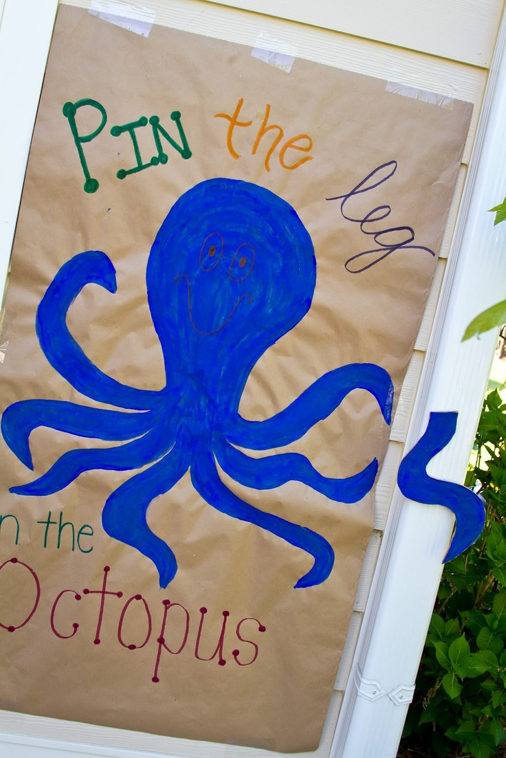 Under the Sea party games. Pin the leg on the octopus