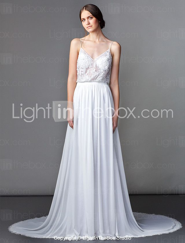 Lanting Bride® Sheath / Column Petite Wedding Dress Sweep / Brush Train V-neck Chiffon with 2016 - ¥21017