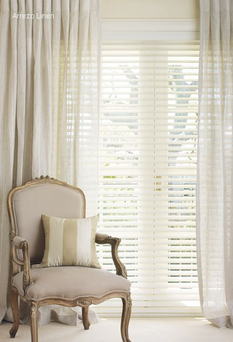 white venetian blind, softened with sheer voile