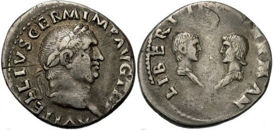 Ancient Coins - FORVM Vitellius Very Rare Dynastic Denarius with Son and Daughter gVF