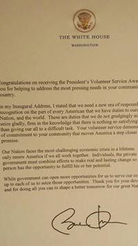 President Service Award from President Obama, for Chef Bruno