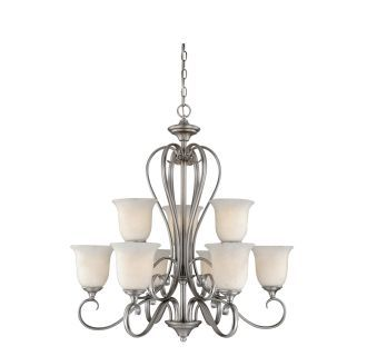 Buy The Vaxcel Lighting Antique Pewter Direct Shop For Riviera 9 Light Two Tier Chandelier With Frosted Glass Shades