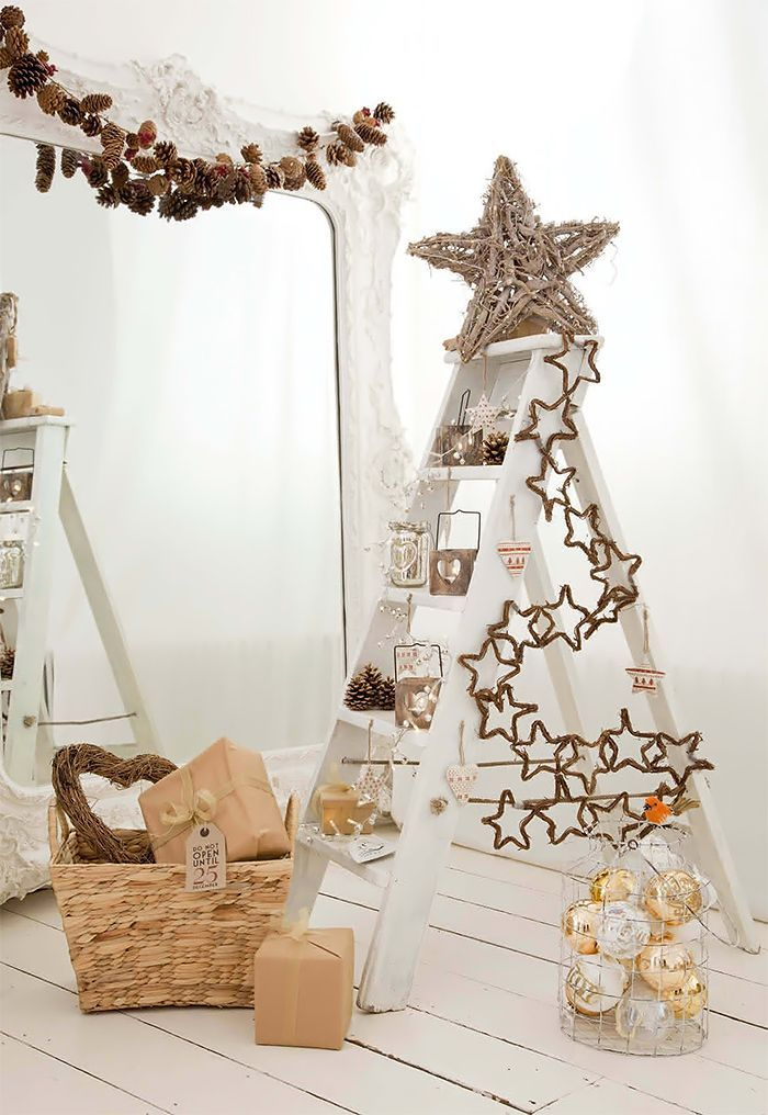 Ladder Christmas Tree Adorned with Stars - 20 Creative Ladder Ideas for Home Decoration, http://hative.com/creative-ladder-ideas-for-home-decoration/,