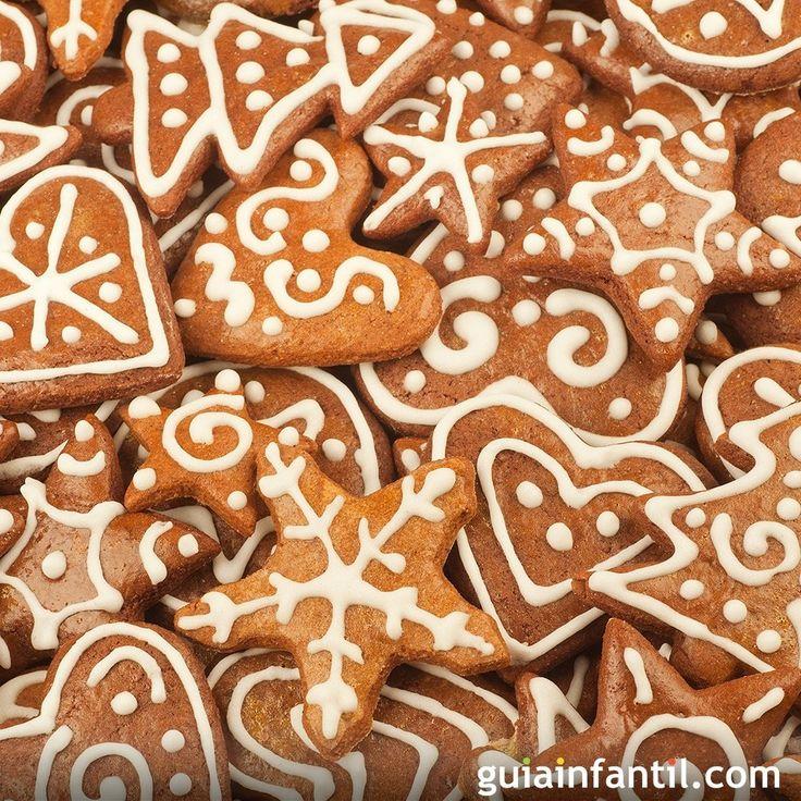 Receta fácil de galletas de jengibre para niños. Cómo hacer, paso a paso, galletas navideñas de jengibre. receta para niños de galletas de Navidad tradicionales. Galletas de jengibre tradicionales para la Navidad.