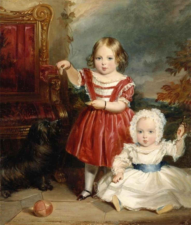"The 1st & 2nd Children of Queen Victoria (Alexandrina Victoria) (1819-1901) UK & Prince Albert (1819-1861) Saxe-Coburg & Gotha, Germany: The Princess Victoria Adelaide (1840-1901) UK & baby Albert Edward ""Bertie"" (Edward VII) (1841-1910) UK by Thomas Musgrave Joy. As the 1st son of UK's Queen he was heir to her throne at birth. As son of Prince Albert he was also heir to Saxe-Coburg & Gotha. He later renounced his succession rights to Saxe-Coburg & Gotha to his brother Prince Alfred…"
