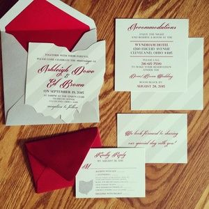Scarlet and Gray wedding invitation design with a state of Ohio laser cutout. Gray and white striped background throughout all detail cards. Formal RSVP card with a cute scarlet RSVP envelope! Loving the Ohio pride! #OSU #scarletandgray