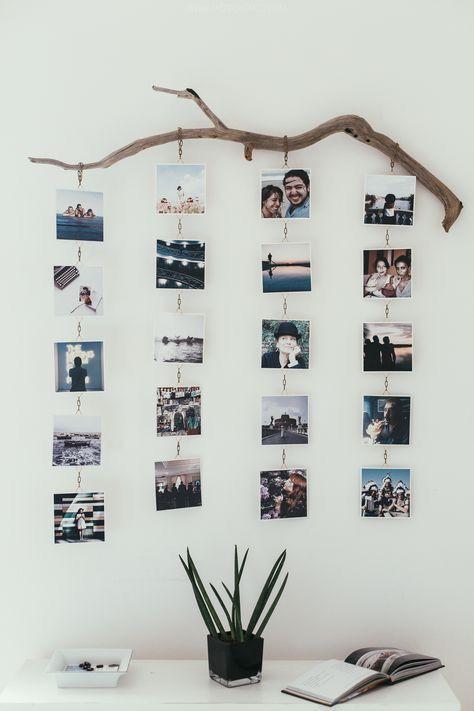 Buena manera de colgar tus fotos. En una rama de árbol en filas debajo de cada