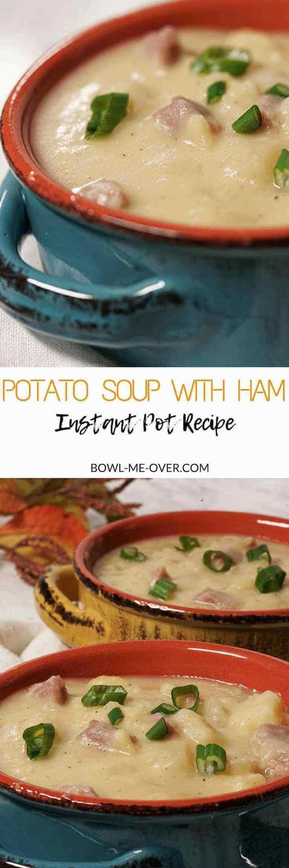 Potato Soup with Ham is a savory, thick soup made creamy with Yukon Gold potatoes and thickened with starchy russet potatoes, a healthy serving of ham with a bit of cheese, it's an easy soup to make! #InstantPot