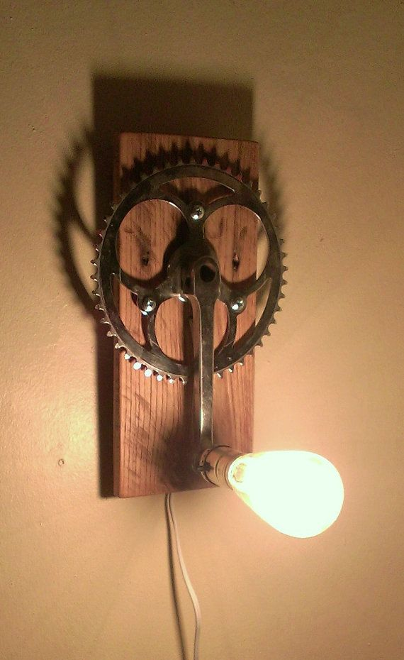 Pallet Wood and Bicycle Crank Wall Lamp by IdleParts on Etsy, $60.00