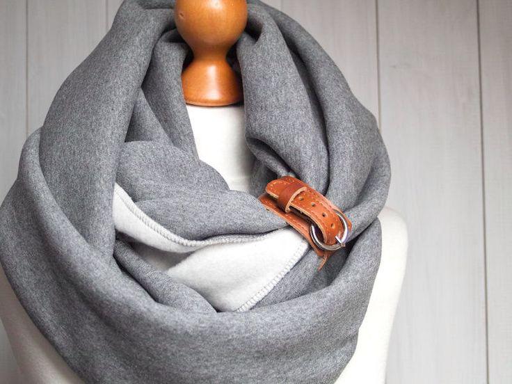 EXTRA CHUNKY Infinity Scarf with leather cuff, high street fashion infinity scarf, cozy SNOOD by Zojanka on Etsy https://www.etsy.com/listing/174975556/extra-chunky-infinity-scarf-with-leather