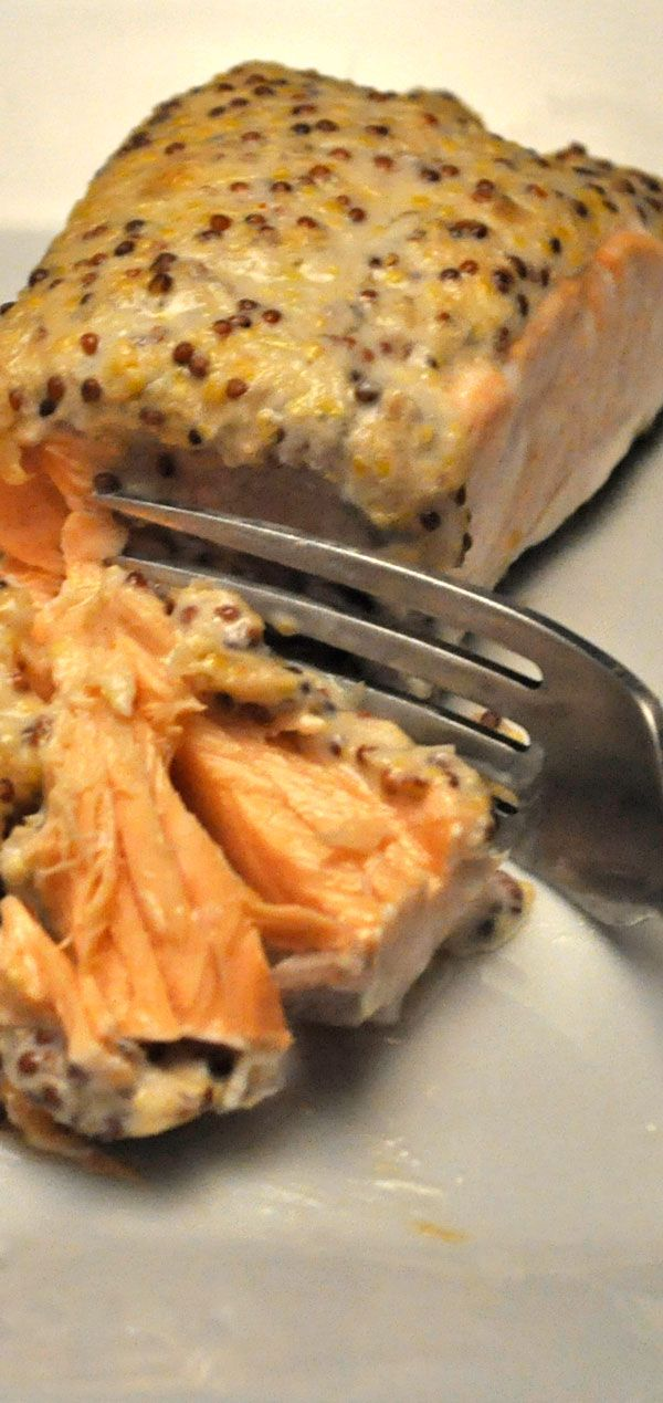 Baked Salmon with Whole Grain Mustard & Horseradish Sauce