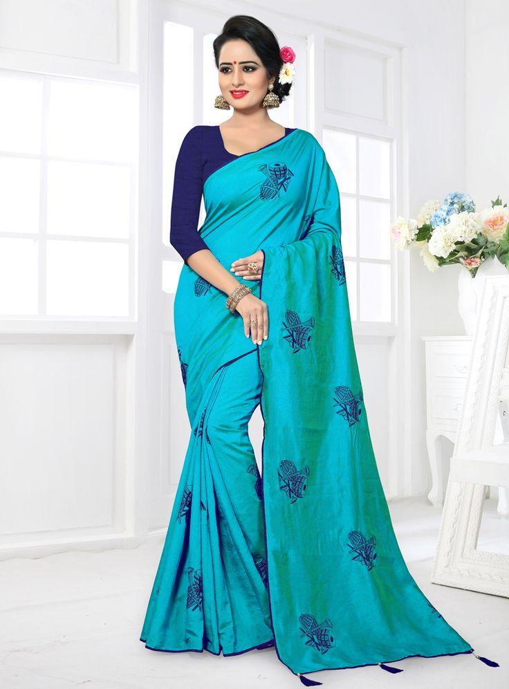 Sky Blue Silk Saree With Blouse 122882