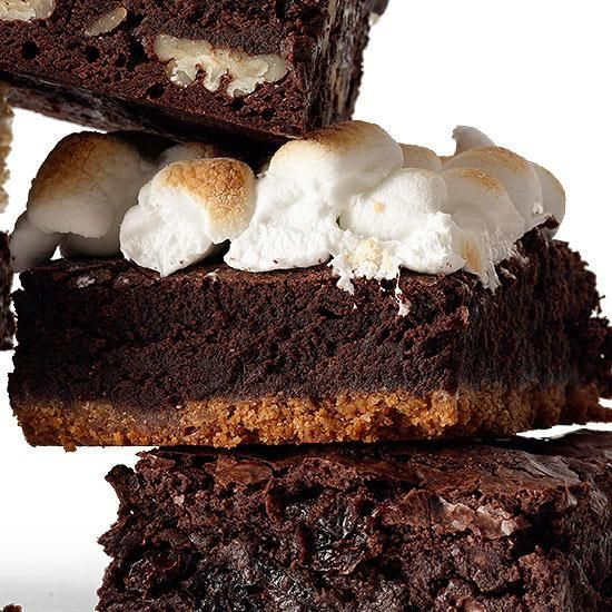 Triple Layer S'Mores Brownies (Using Fudgy One-Pot Brownies Recipe)