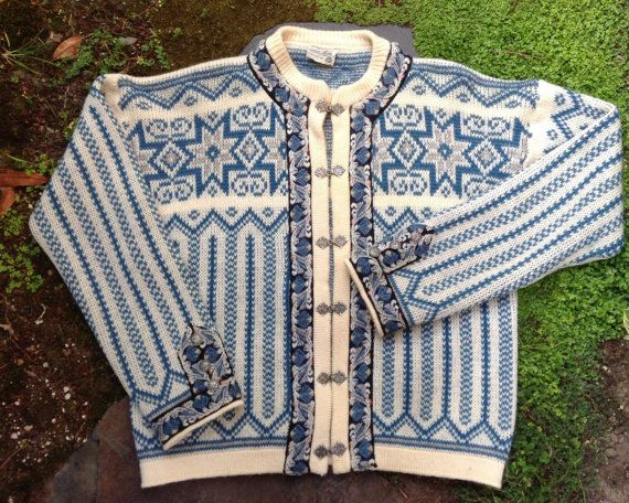 Winter white and blue Norwegian Wool Sweater by by VikingRaids