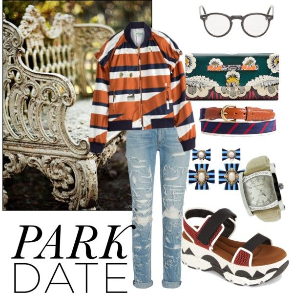 day in the park by june-kim-i on Polyvore featuring polyvore fashion style Kenzo Marni Valentino Bulgari Oliver Peoples