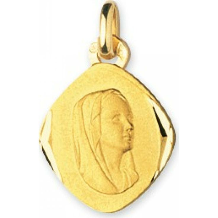 Virgin Mary Diamond Shaped Gold Pendant - Murat Paris