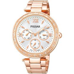 Pulsar Womens Crystal-Accent Rose-Tone Stainless Steel Bracelet Watch PP6104