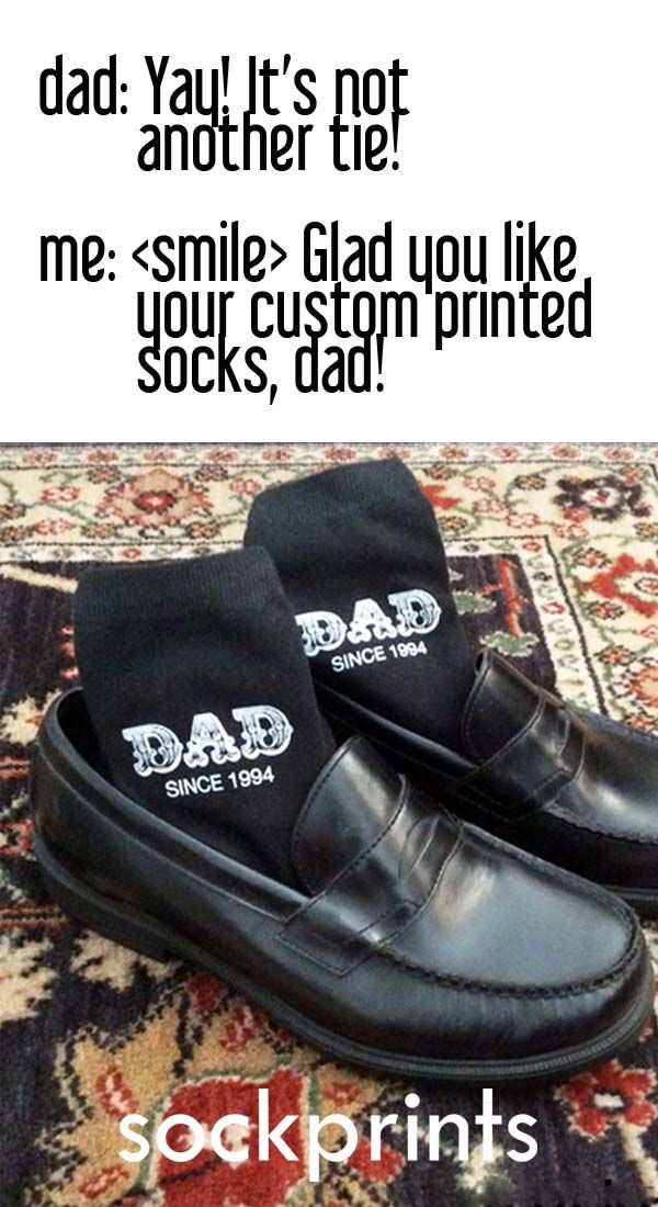 Create your very own personalized gift socks for dad! These fun socks are a great gift for Father's Day, birthdays and other special celebrations!   Our made-to-order socks are digitally printed with environment friendly apparel inks and will not fade with washing (no bleach please!). The design is printed on the outside of each sock. Available in black and white.