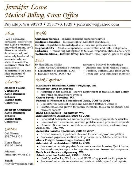 The 25+ best Latest resume format ideas on Pinterest Resume - medical billing resume
