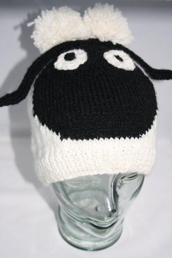 Knitting Gifts For Adults : Shaun the sheep hand knitted hat adult fit beanie