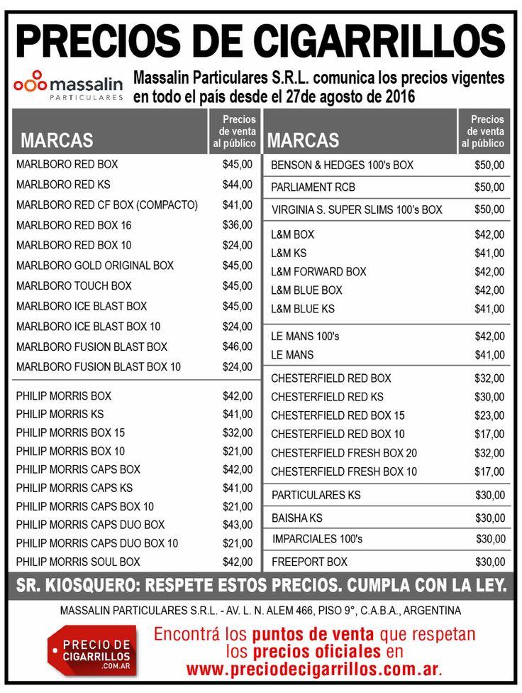 Lista de precios de cigarrillos Massalin Particulares 27 de agosto de 2016