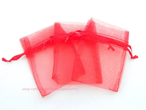 Organza Favor Bags 100 Red Organza Gift Bags with Drawstring,4x6 In Sheer Fabric Favor Bags Party Mini Organza Favour Bag SALE