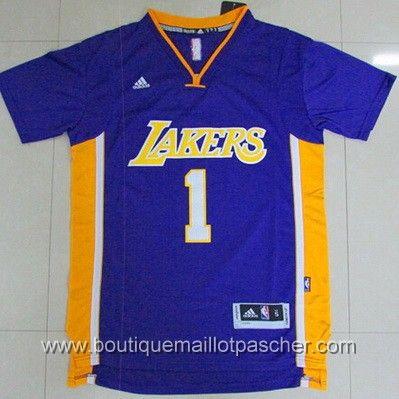 maillot nba pas cher Los Angeles Lakers Russell #1 Bleu manches courtes nouveaux tissu 22,99€