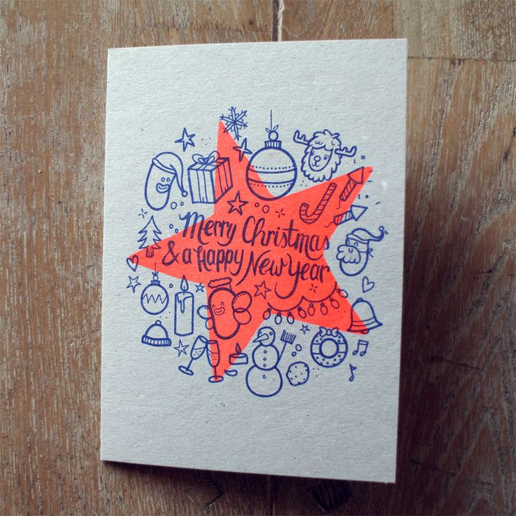 Christmas Cards! Riso print in fluo orange and dark blue on A6 (folded) 200grs pearl grey cardboard.