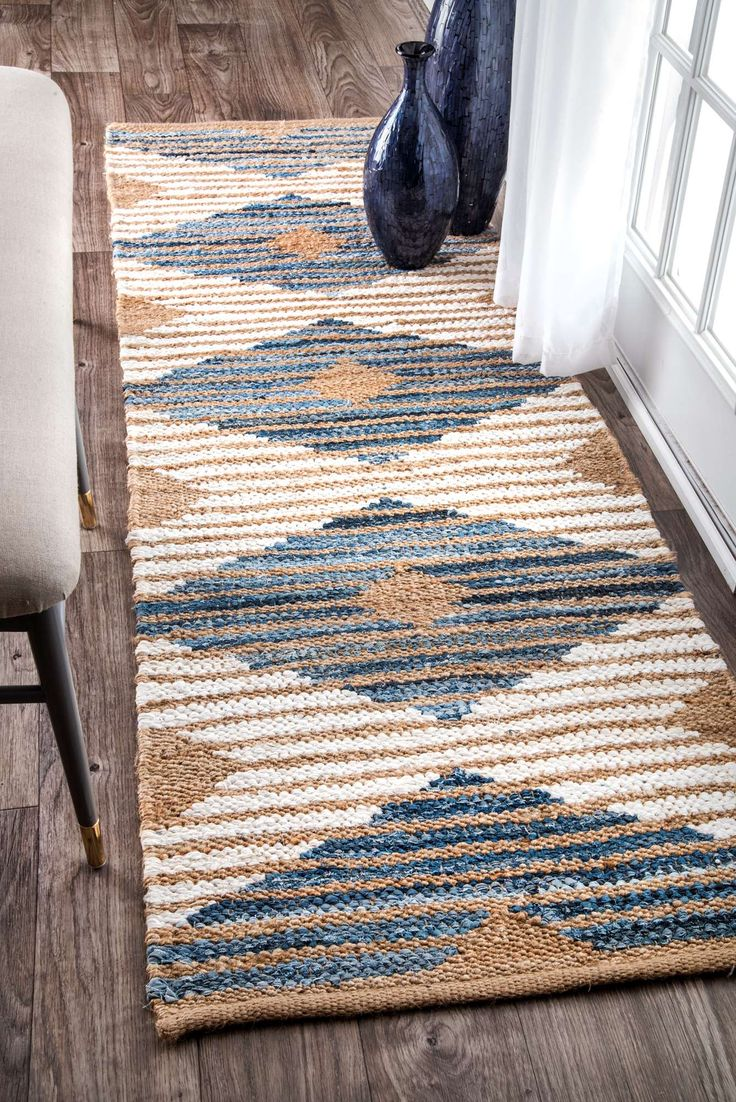 BoardwalkDR02 Hand Braided Denim And Jute Striped Diamonds Rug