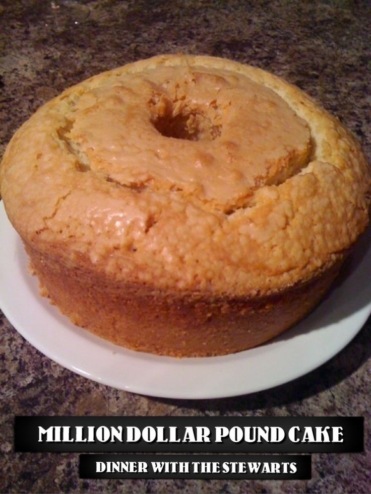 Million Dollar Pound Cake (Dinner with the Stewarts) - Simple ingredients and a WHOLE pound of butter! The way all pound cake should be.