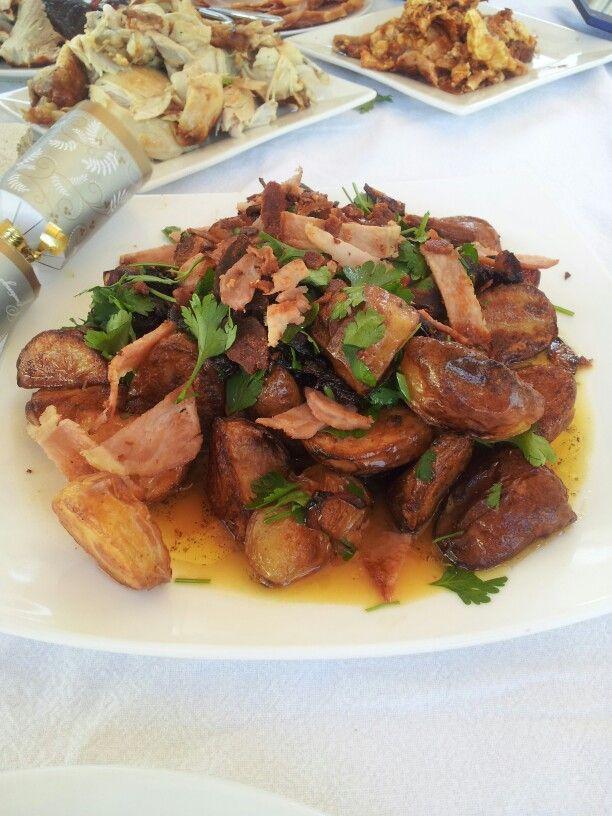 Warm roast potato salad