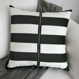 The Black and white Striped cushion cover features a beautiful, on trend monochrome design. This luxury, scatter cushion has been designed and made locally in Australia. The cushion cover is digitally printed on a canvas linen blend fabric and is beautifully finished. Each designer cushion features designed finishes such as a signature corner tag and is finished with a high quality large, ...