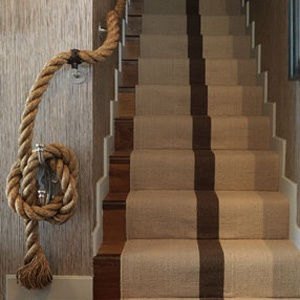 Rope banister - love this look! I think it's Thom Filicia. Return To Home: Rope! Summer-Inspired Decor