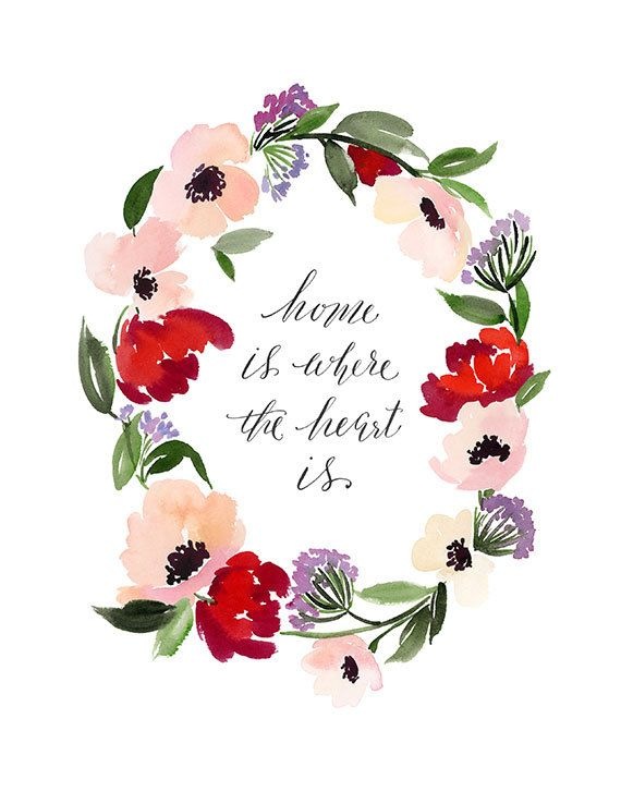 Handmade Watercolor Archival Art Print Flower Wreath In Deep Reds With Quote