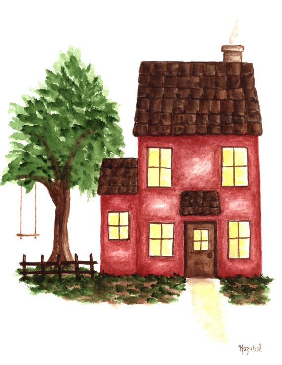 Red House Watercolor Painting Print Giclee Fine Art Archival Original Tree Swing Fence Storybook Illustration 8 1/2 x 11