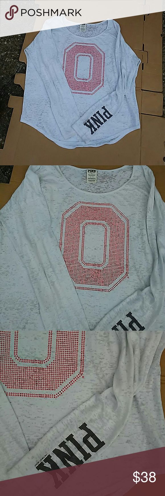 VS PINK OSU bling shirt cute! Awesome  shirt with O in bling on the front! Has PINK on the sleeve! Thin sheer material, will need a tank top underneath... PINK Victoria's Secret Tops